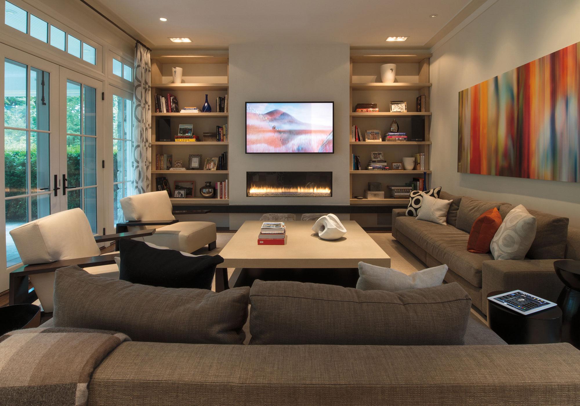 living room, media room,TV, iPad, speakers, bookshelf speakers