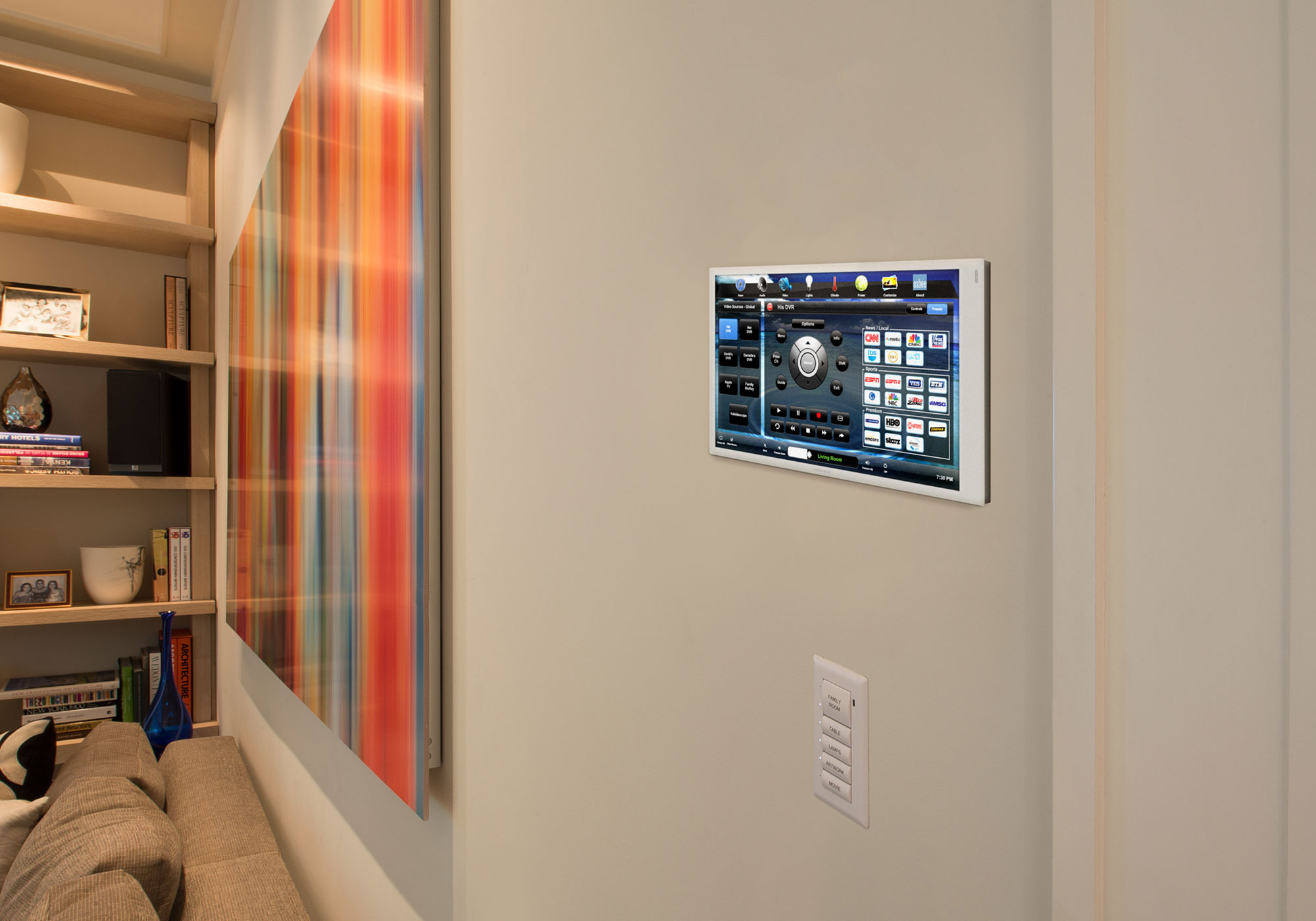living room, touchscreen, wall-mount touchscreen, video screen, keypad