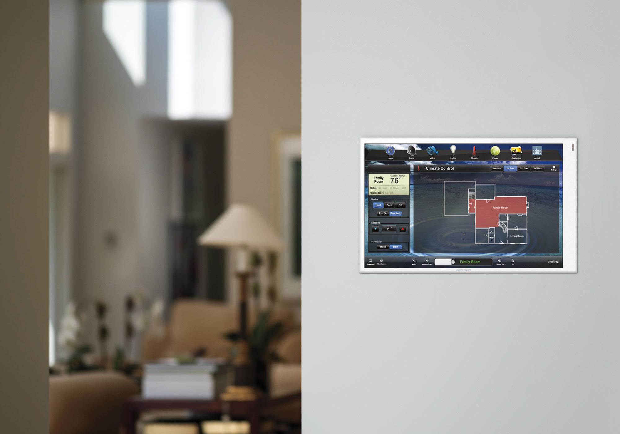 hallway, touchscreen, wall-mount touchscreen, climate screen