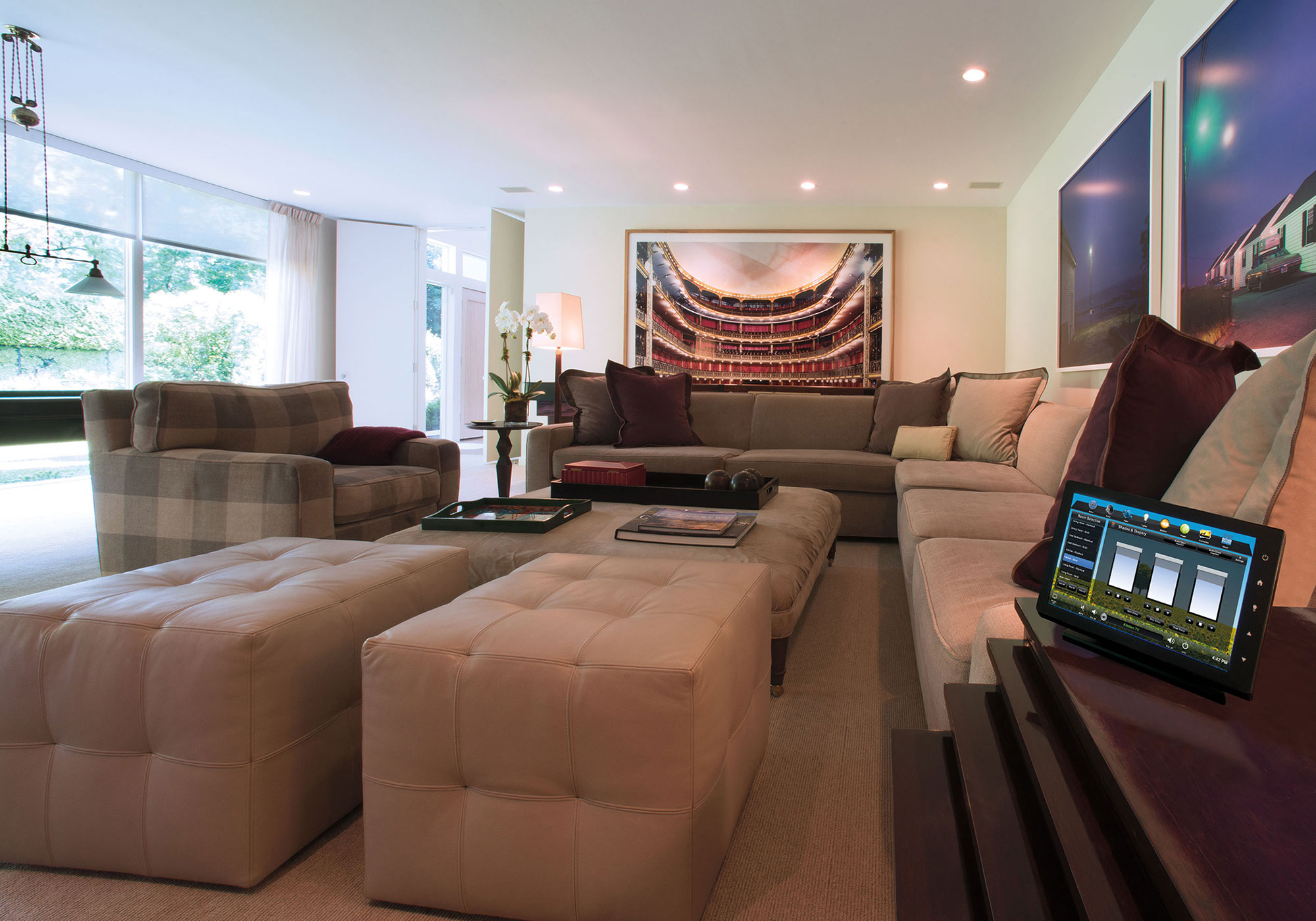 living room, touchscreen, tabletop touchscreen, shades screen, shades, solar shades, draperies