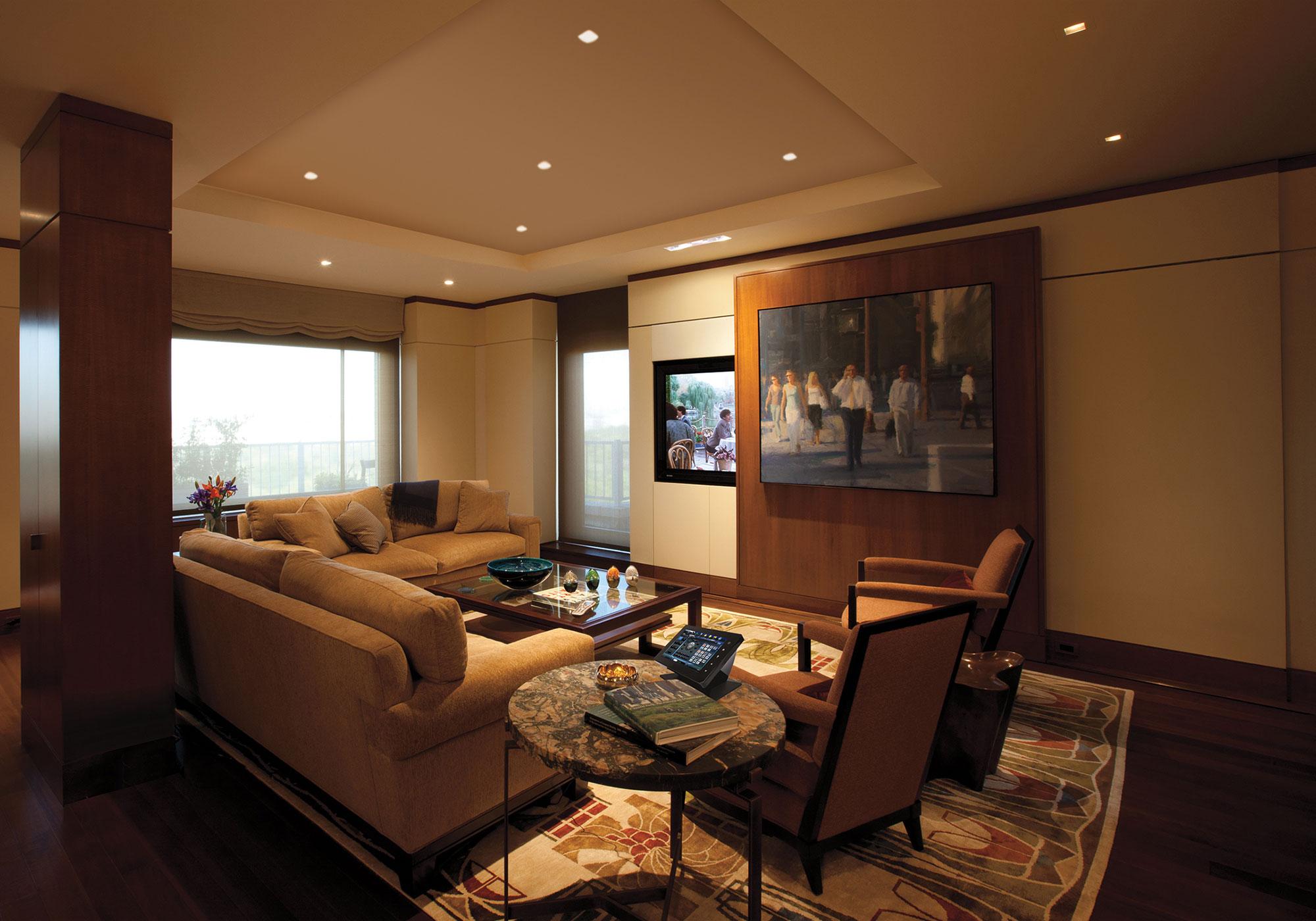living room, media room, TV, sliding panel, motorized
