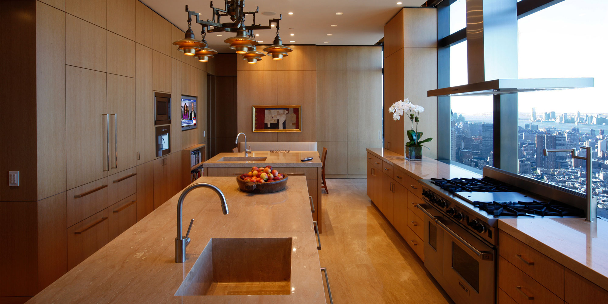 kitchen, cabinetry, millwork, tv, recess