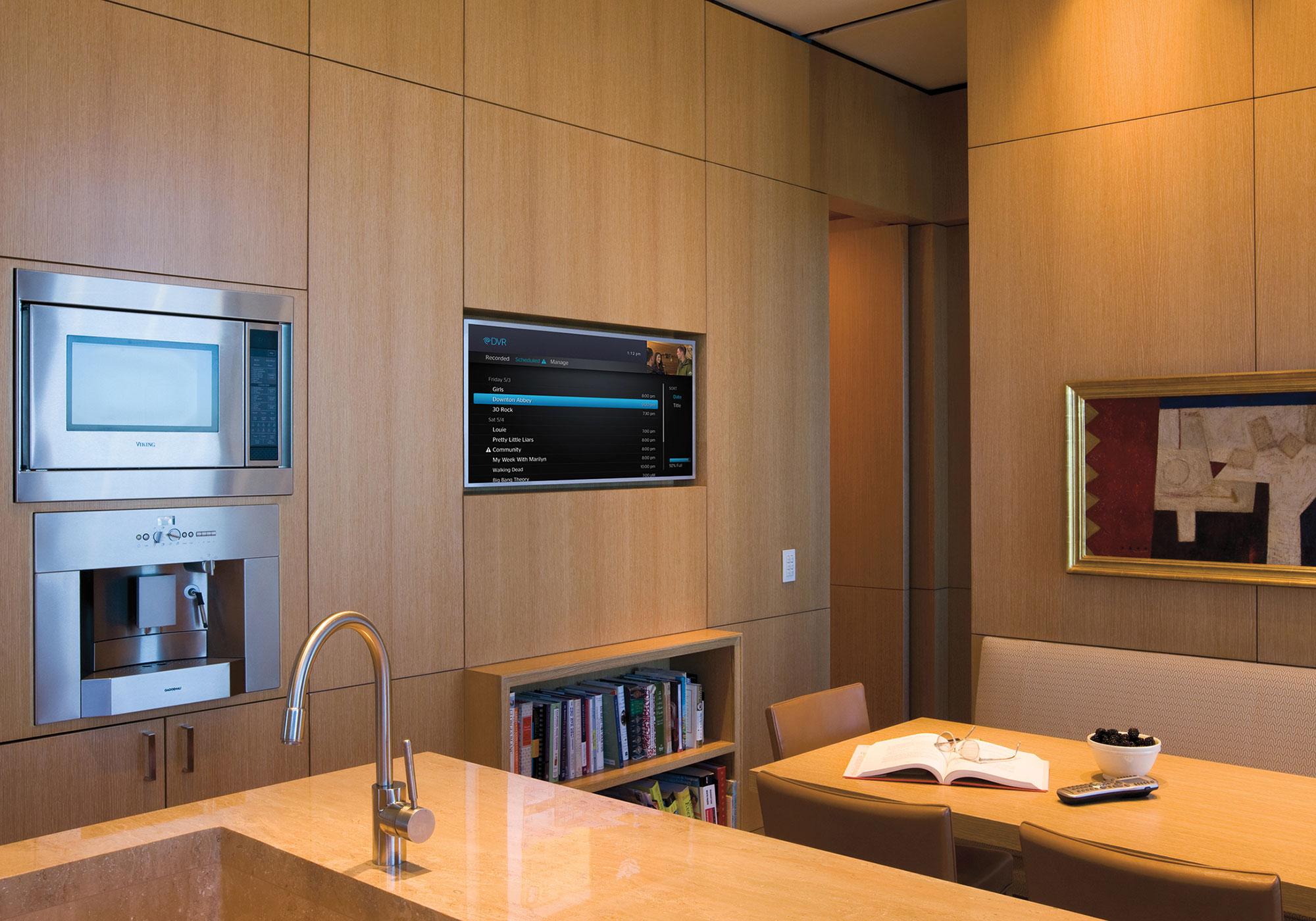 kitchen, tv, recess, cabinetry, millwork, handheld remote