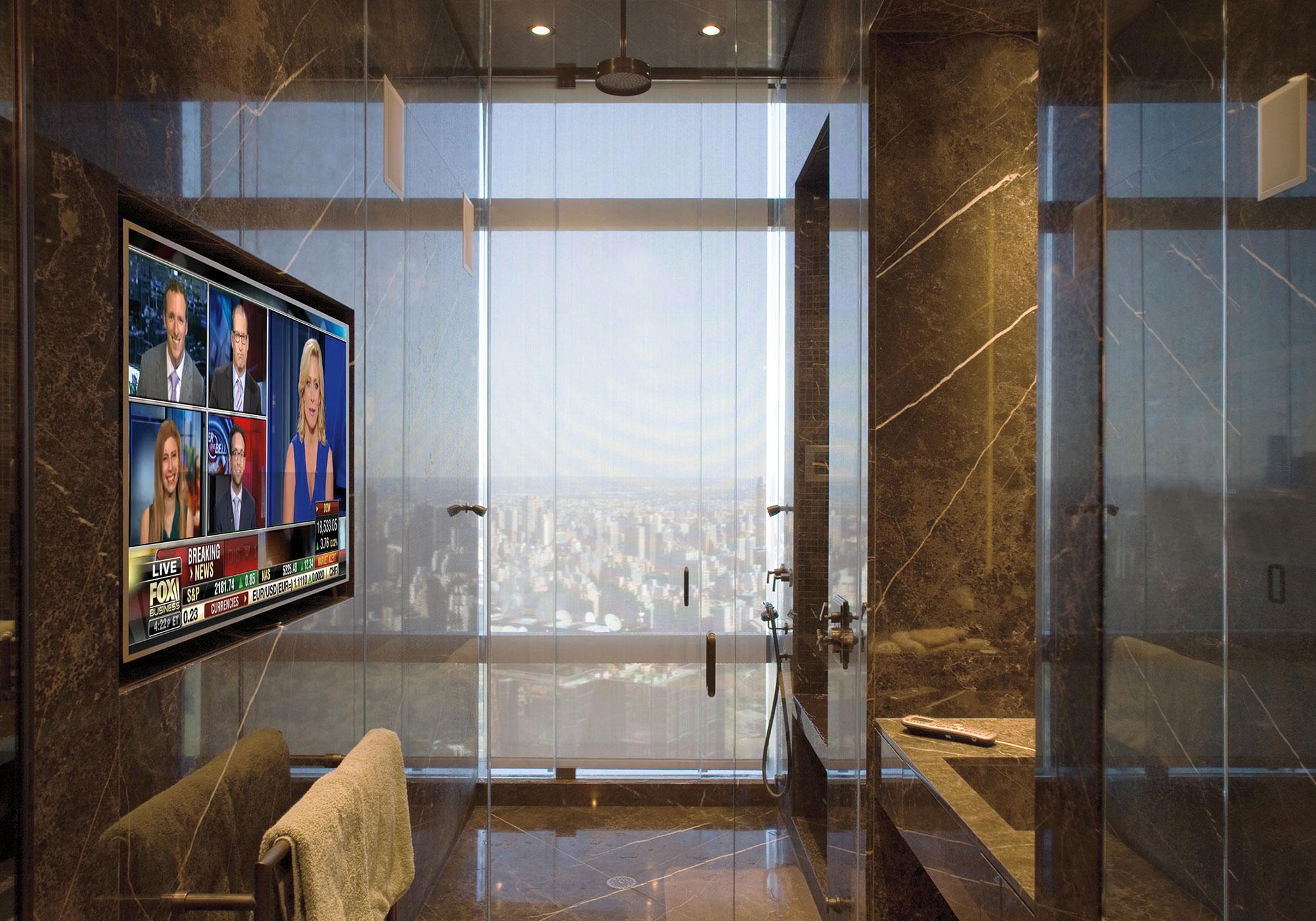 bathroom, TV, recess, shades, solar shades, speakers, in-wall speakers, waterproof speakers
