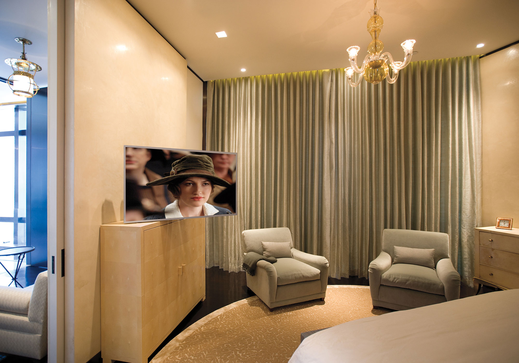 bedroom, tv, lift, cabinetry, motorized, draperies