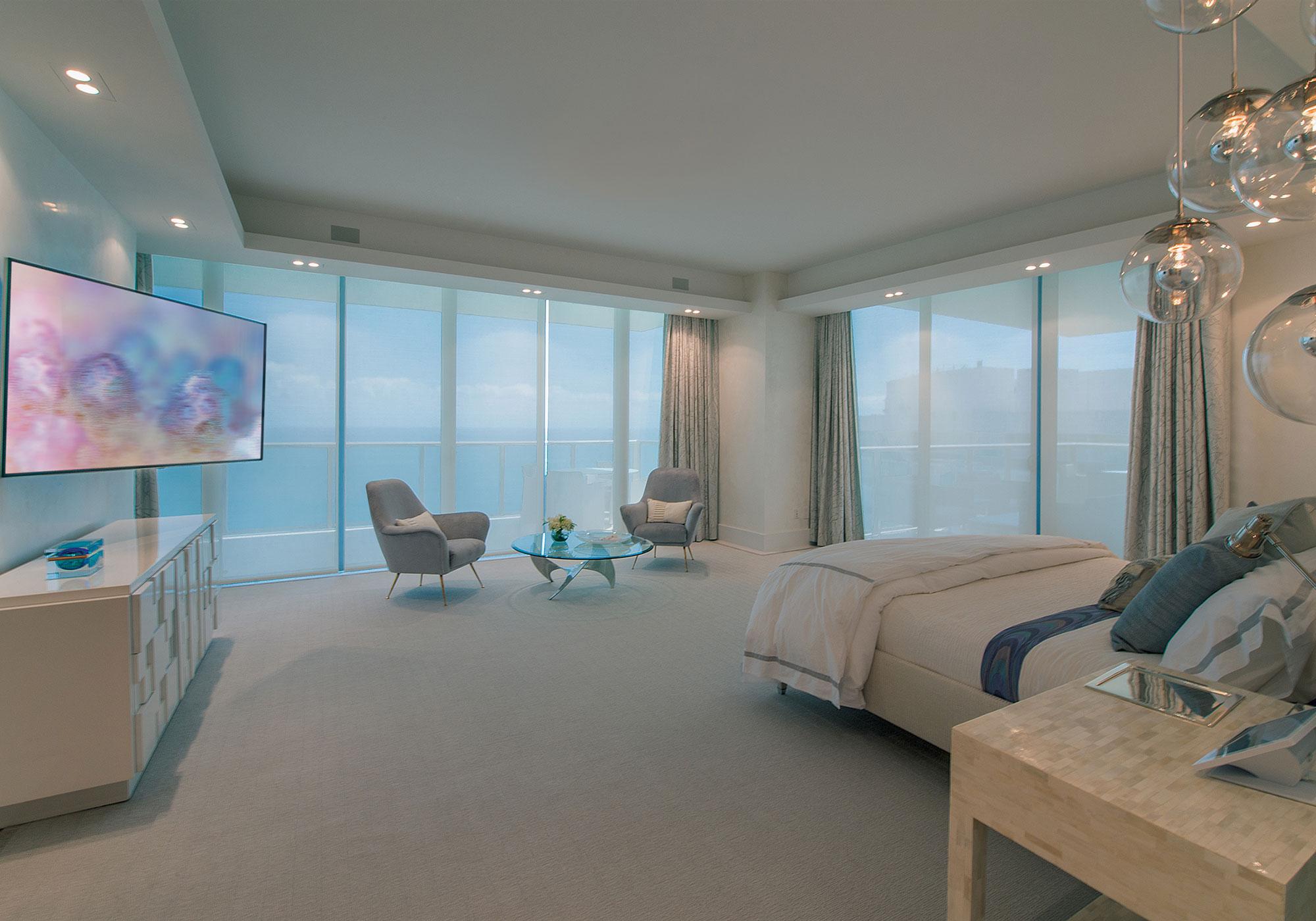 bedroom, shades, solar shades, draperies, tv, articulating arm
