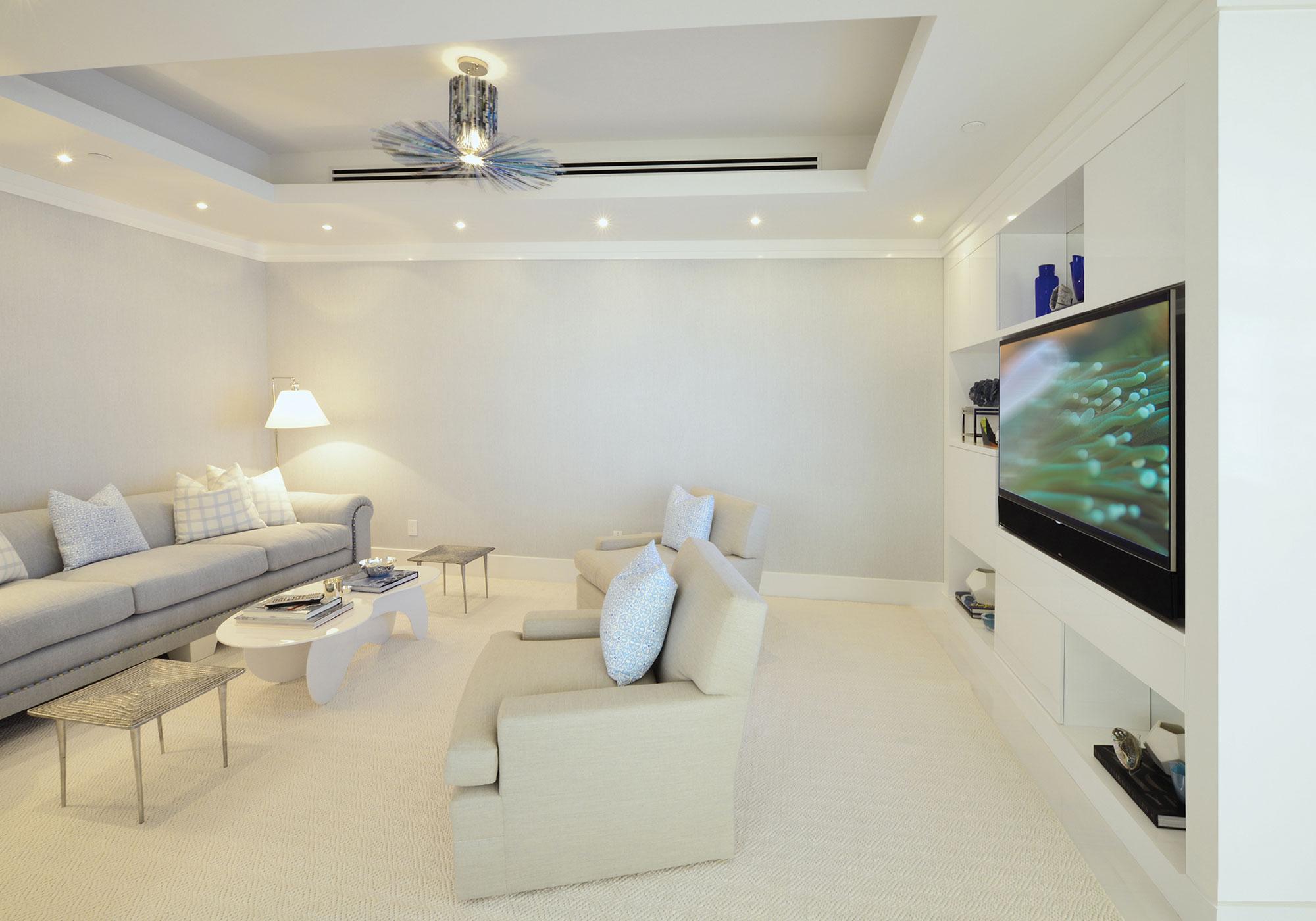 media room, living room, tv, recess, millwork, alcove lighting