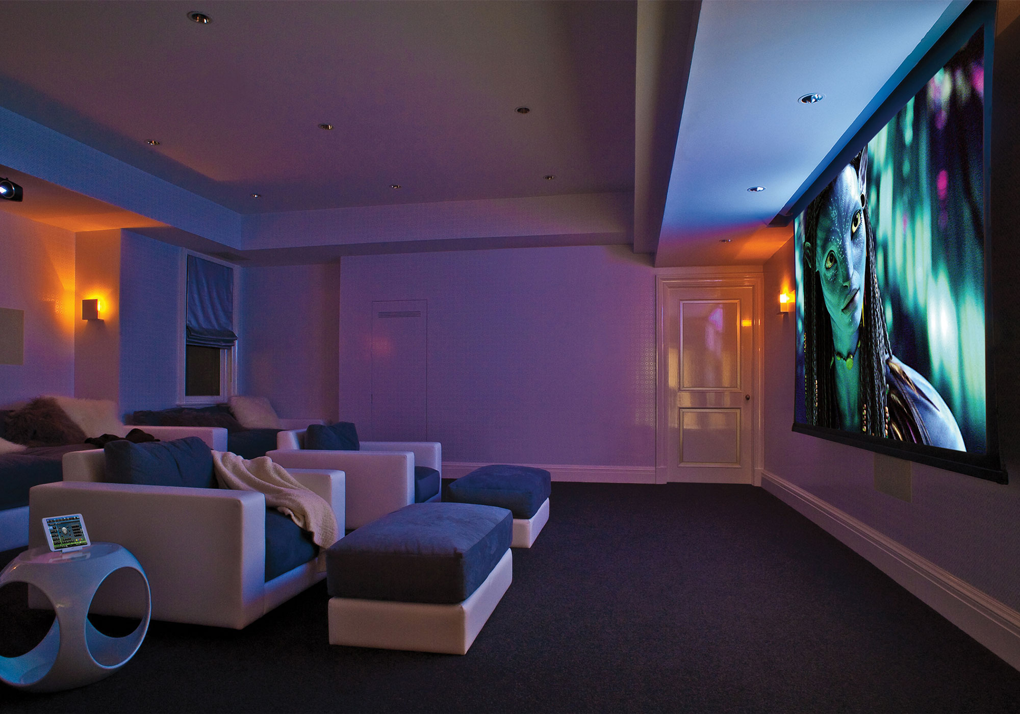 theater, projection system, movie screen, iPad