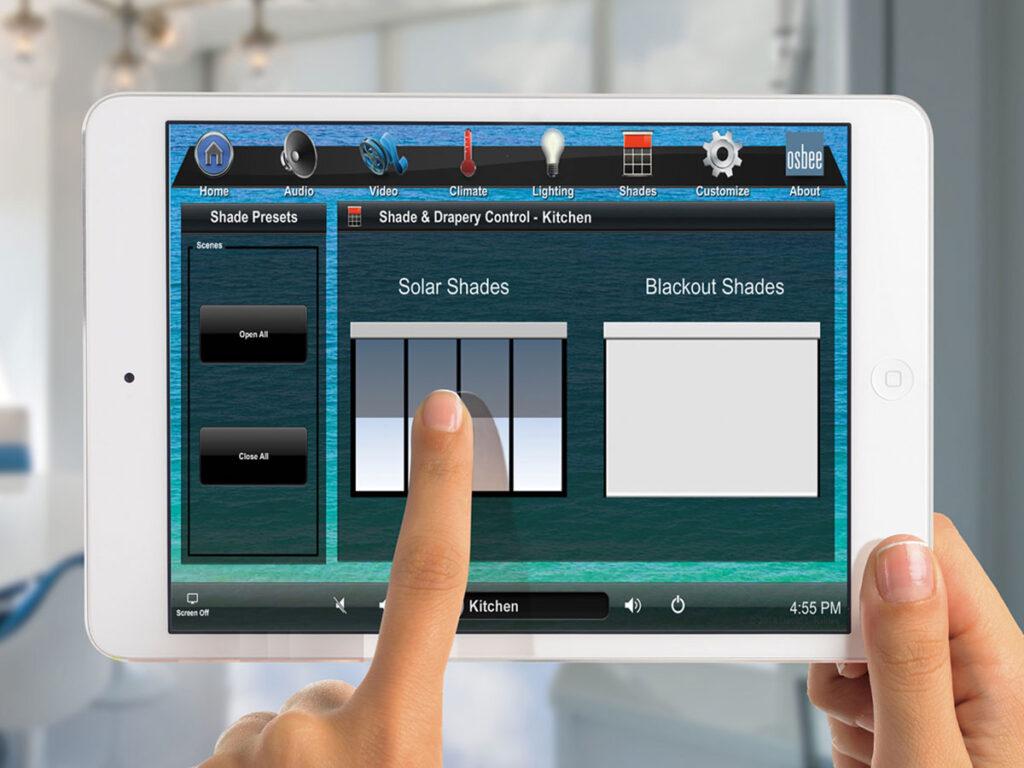 Kitchen, iPad, shades, solar shades, shades screen