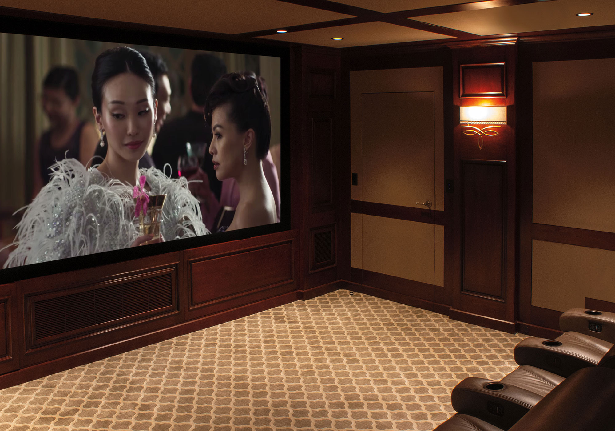 theater, projection system, movie screen, speakers, in-wall speakers, surround sound