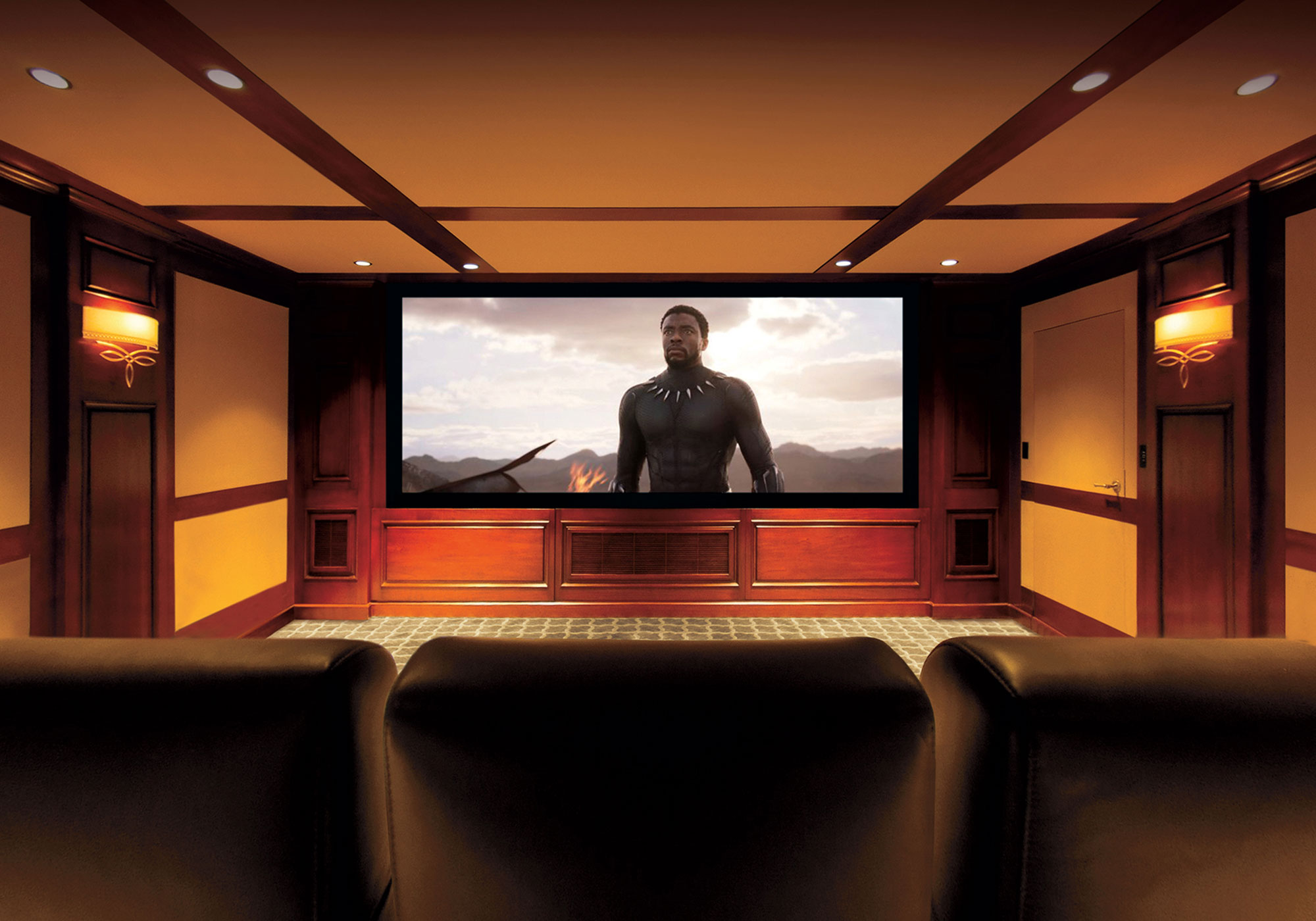 theater, projection system, movie screen, speakers, surround sound