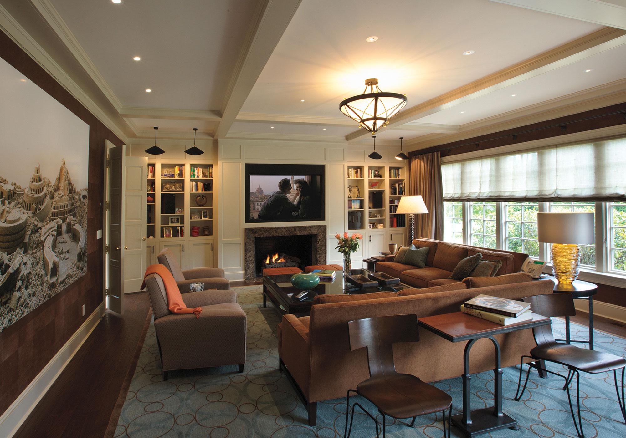 living room, media room, TV, draperies, roman shades