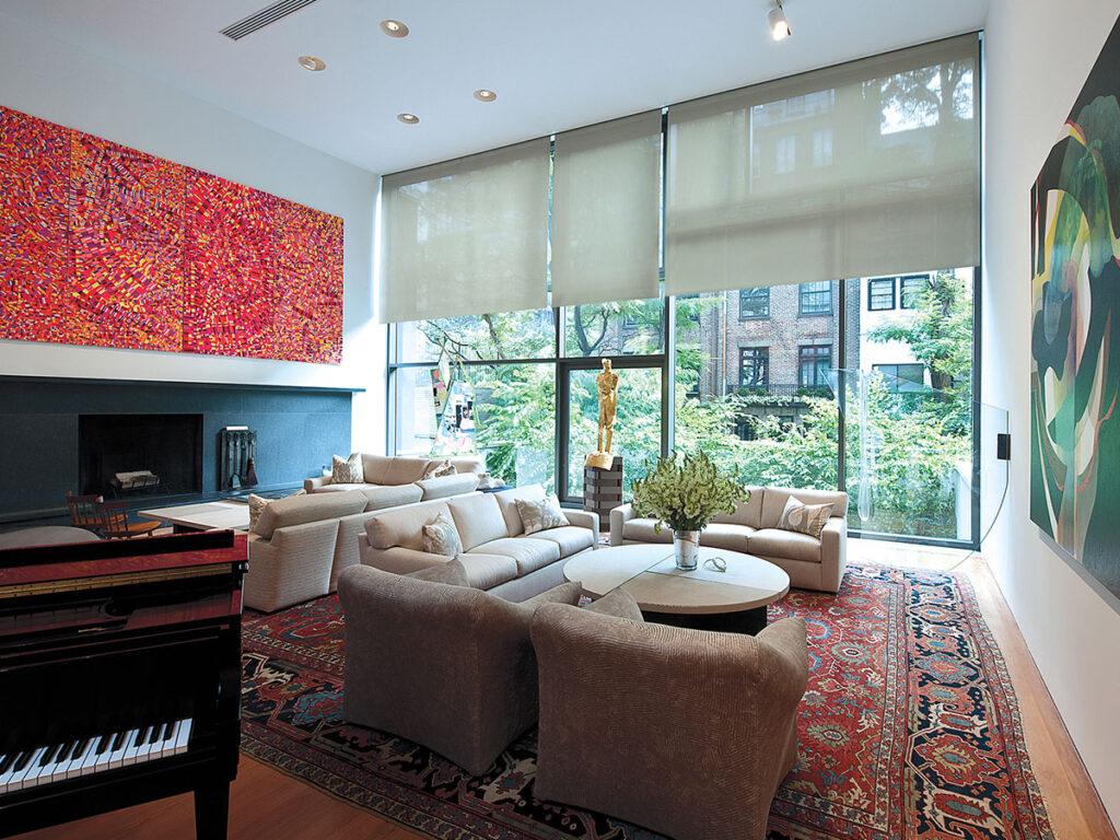Living Room, shades, solar shades, roller shades