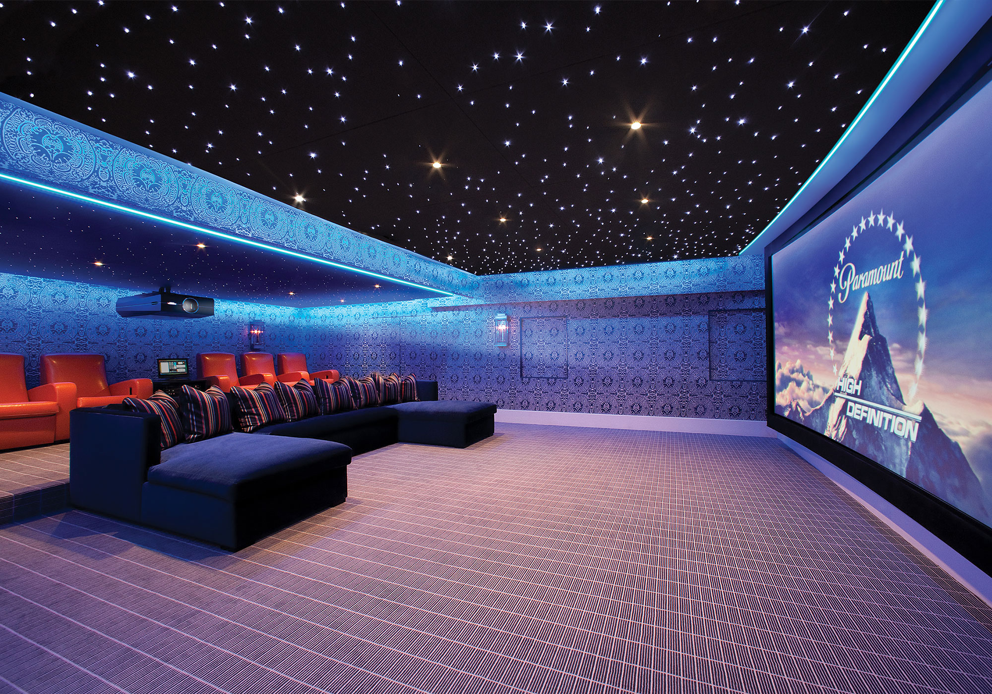 theater, projection system, movie screen, LED, alcove lighting, star ceiling