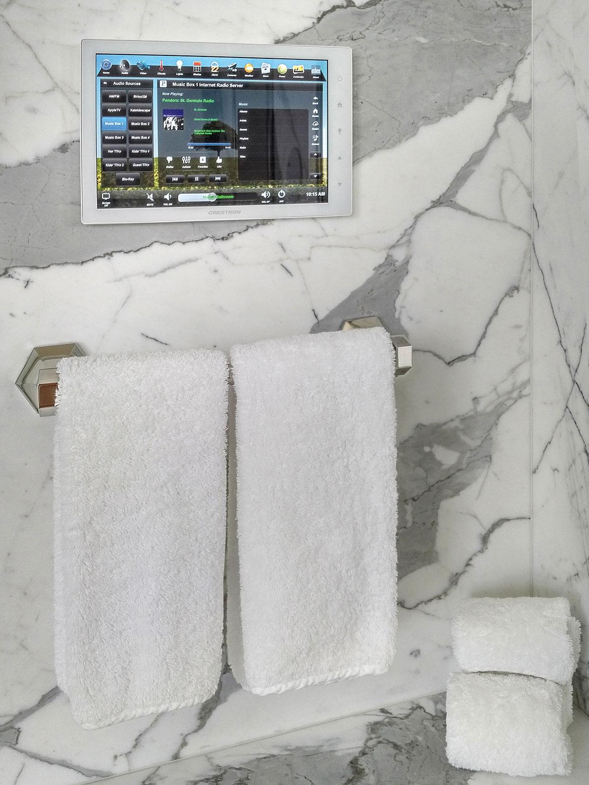 bathroom, touchscreen, wall-mount touchscreen, audio screen