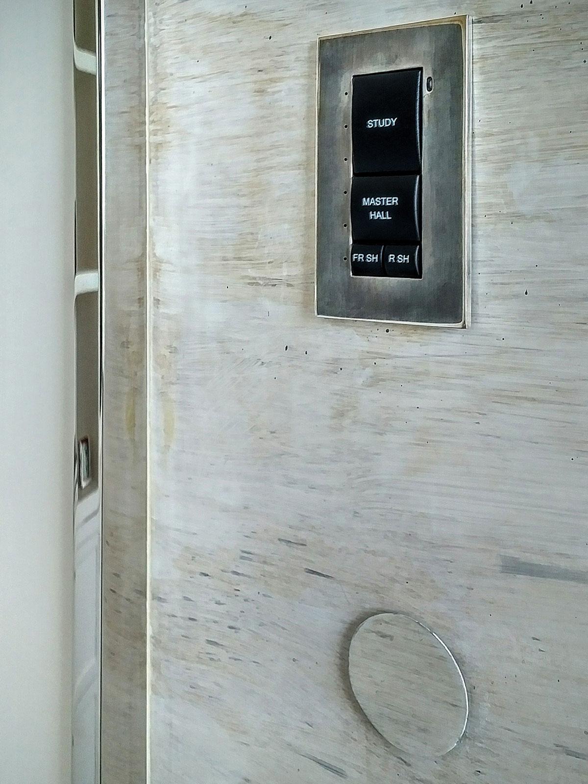 hallway, keypad, presets, anodized, remote sensor, venetian plaster