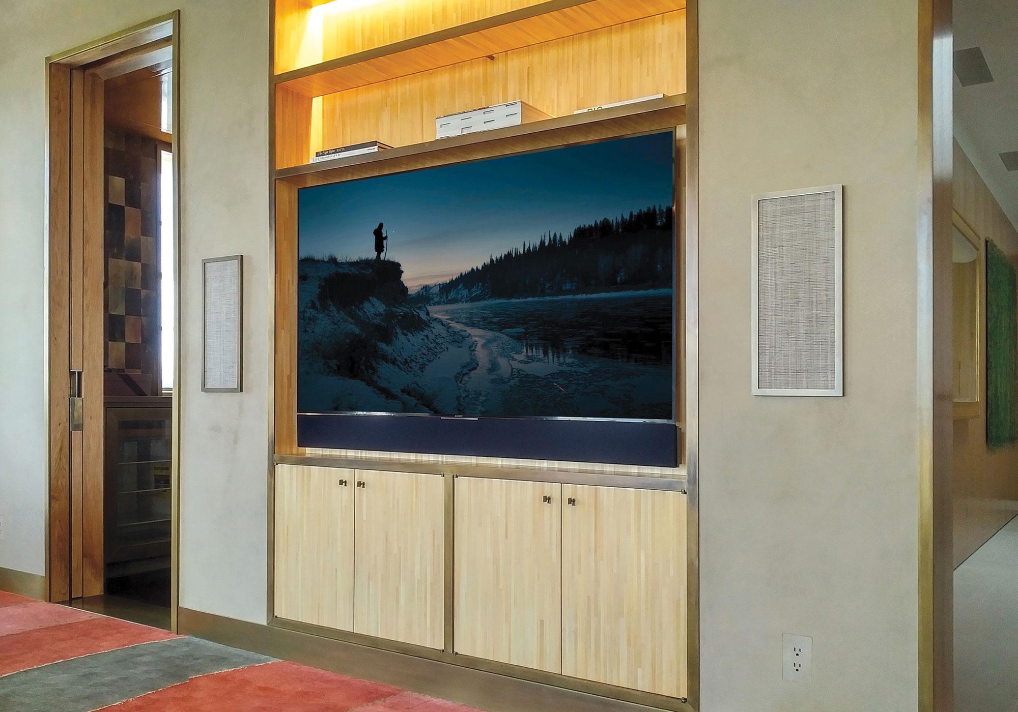 media room, TV, recess, millwork,speakers, in-wall speakers, CAT, california audio technology