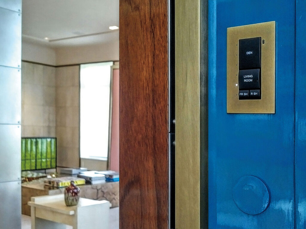 Hallway, keypad, presets, brass, anodized, sensor, remote sensor, Venetian plaster