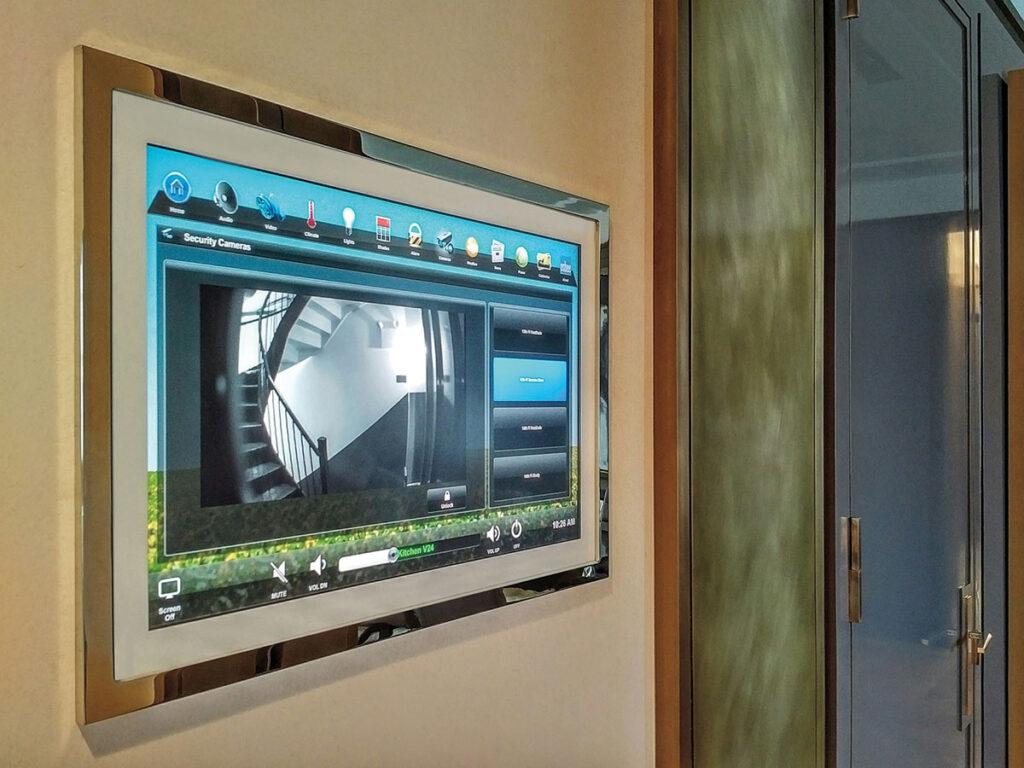 Hallway, touchscreen, wall-mount touchscreen, cameras screen, brass