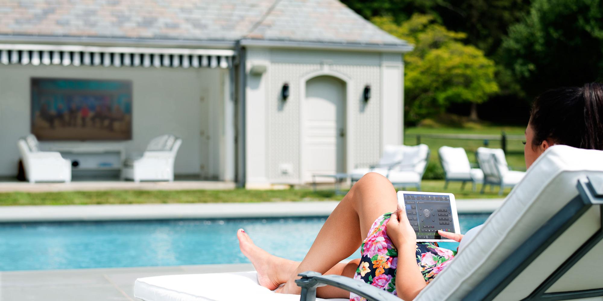 pool, iPad, TV, outdoor TV, waterproof TV
