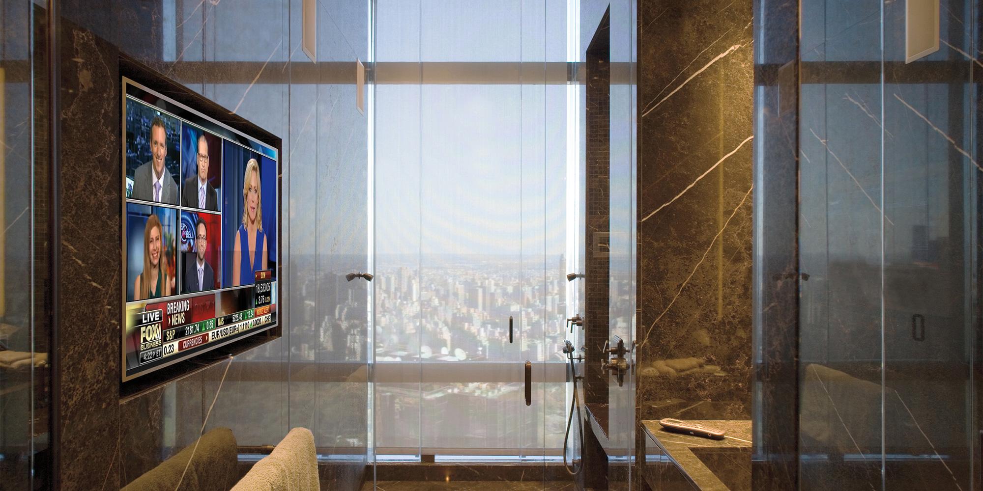 bathroom, TV, waterproof TV, recess, shades, solar shades, speakers, in-wall speakers
