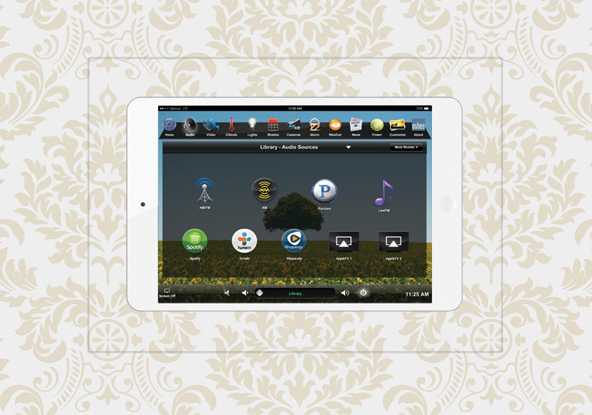 TruFig, flush-mount, iPad, wall-mount, wallpaper, audio screen