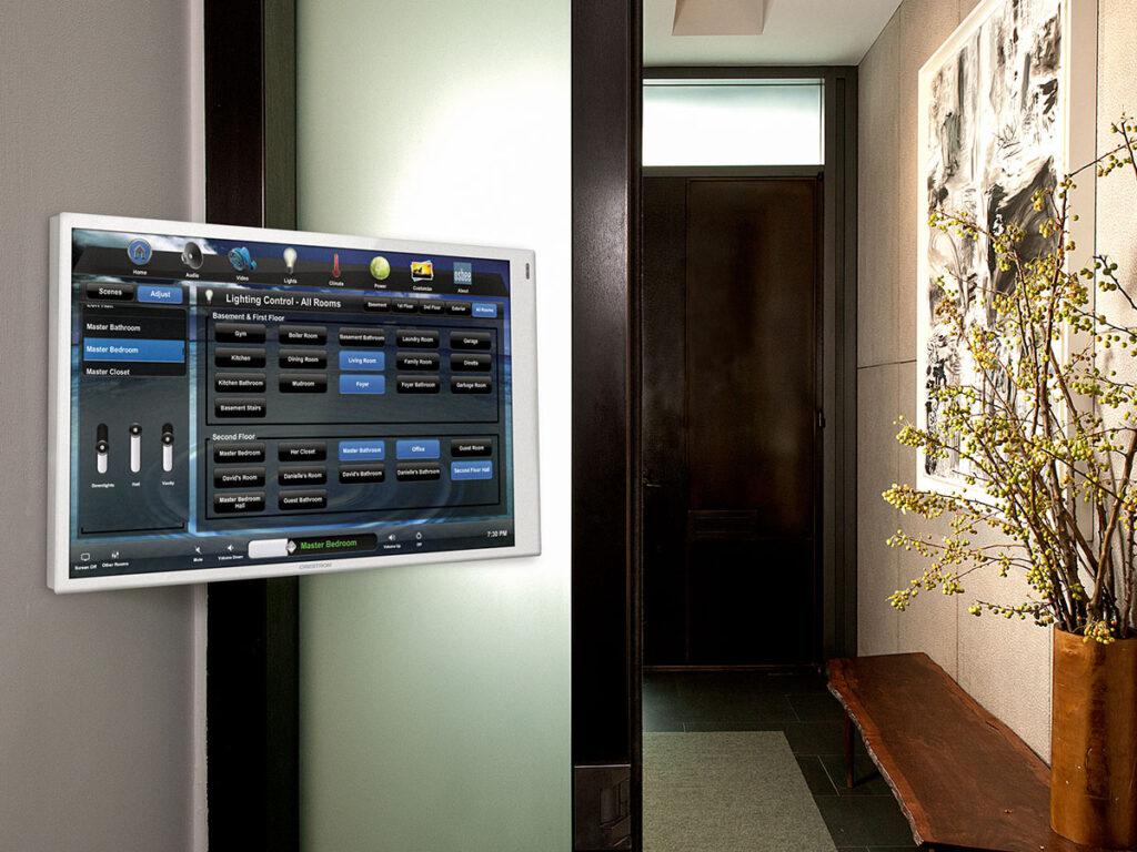 Foyer, touchscreen, wall-mount touchscreen, articulating arm, lighting screen