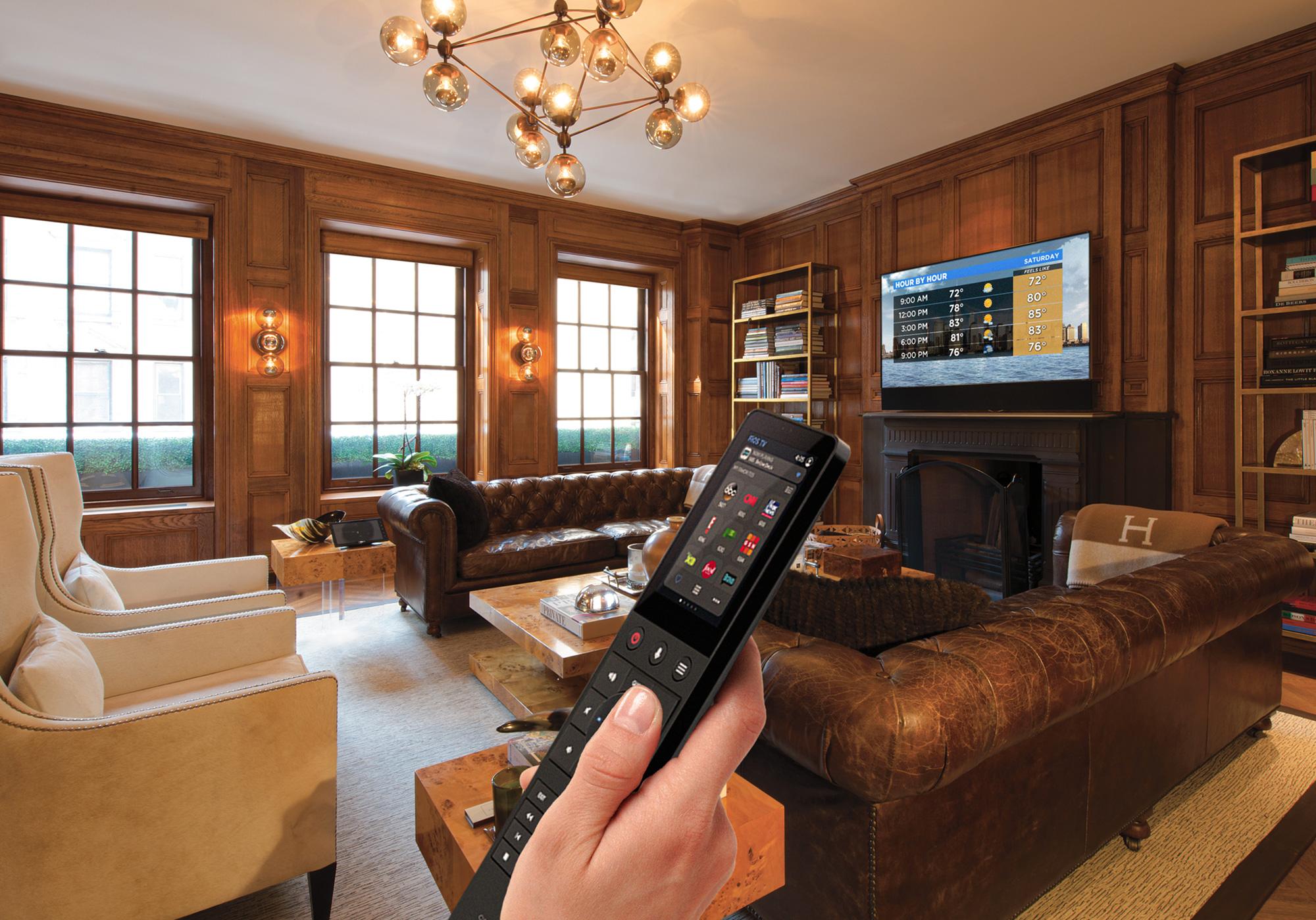 Living Room, Media Room, Library, TV, Soundbar, handheld remote, shades, solar shades