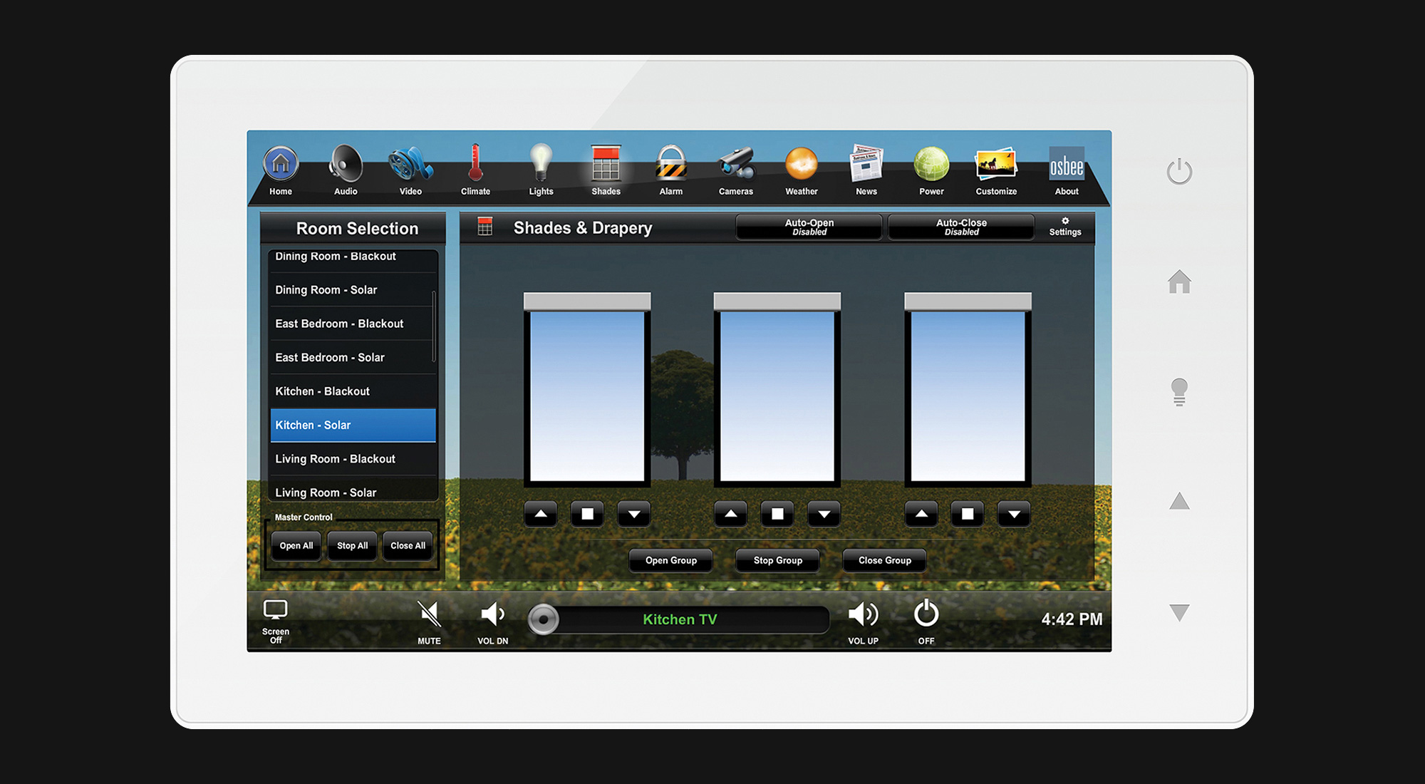 touchscreen, shades screen