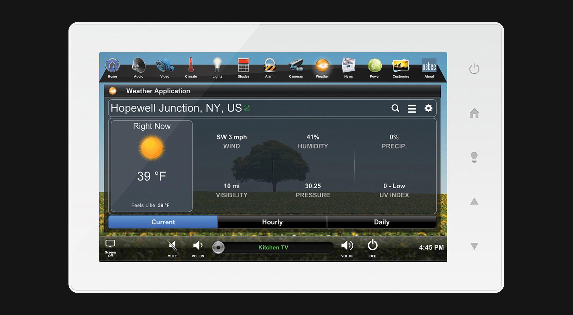 touchscreen, weather screen