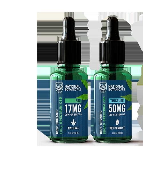 Full Spectrum CBD Oil 17MG Natural Flavor, Broad Spectrum CBD Oil 50MG Peppermint Flavor from National Botanicals