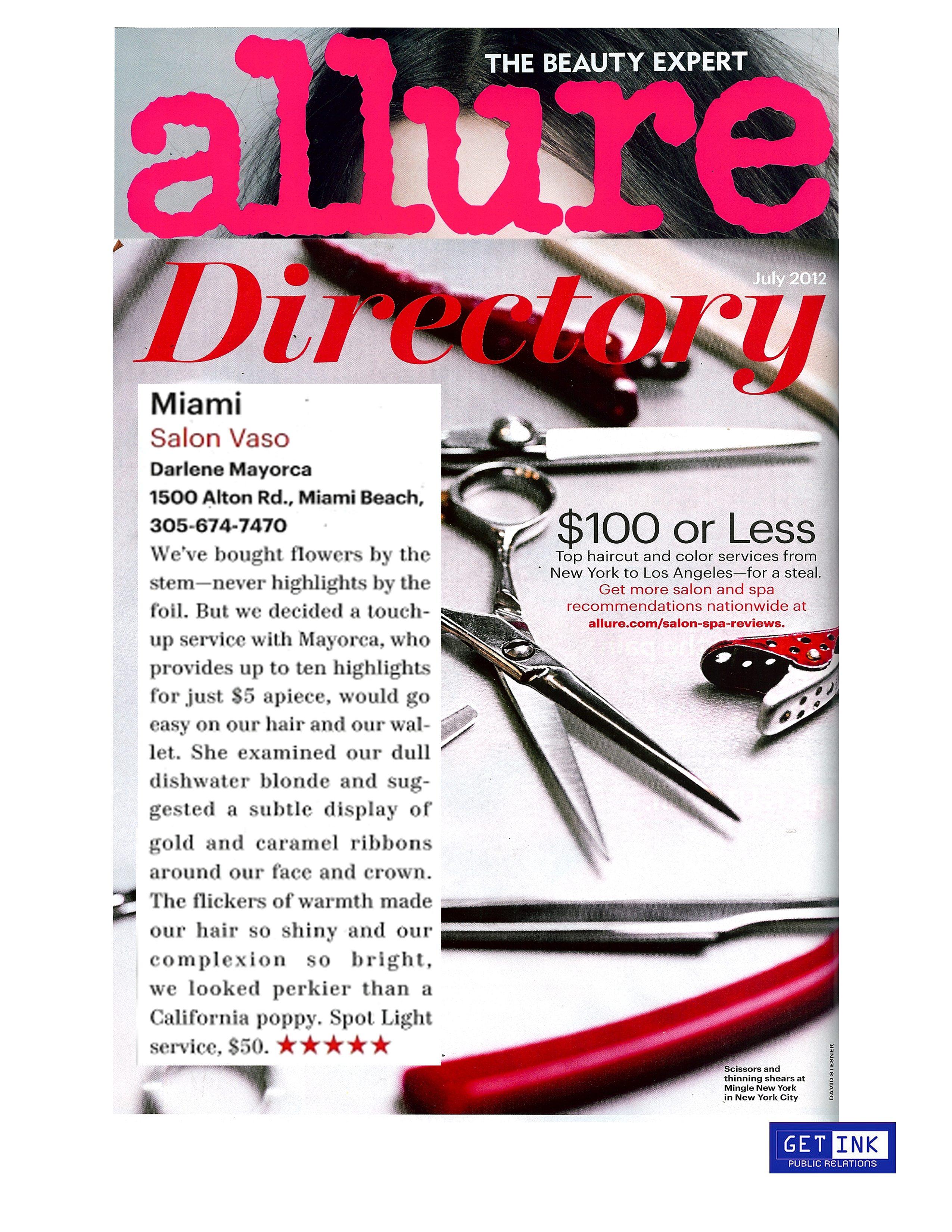Salon Vaso Miami Beach Allure Magazine - Get Ink Pr