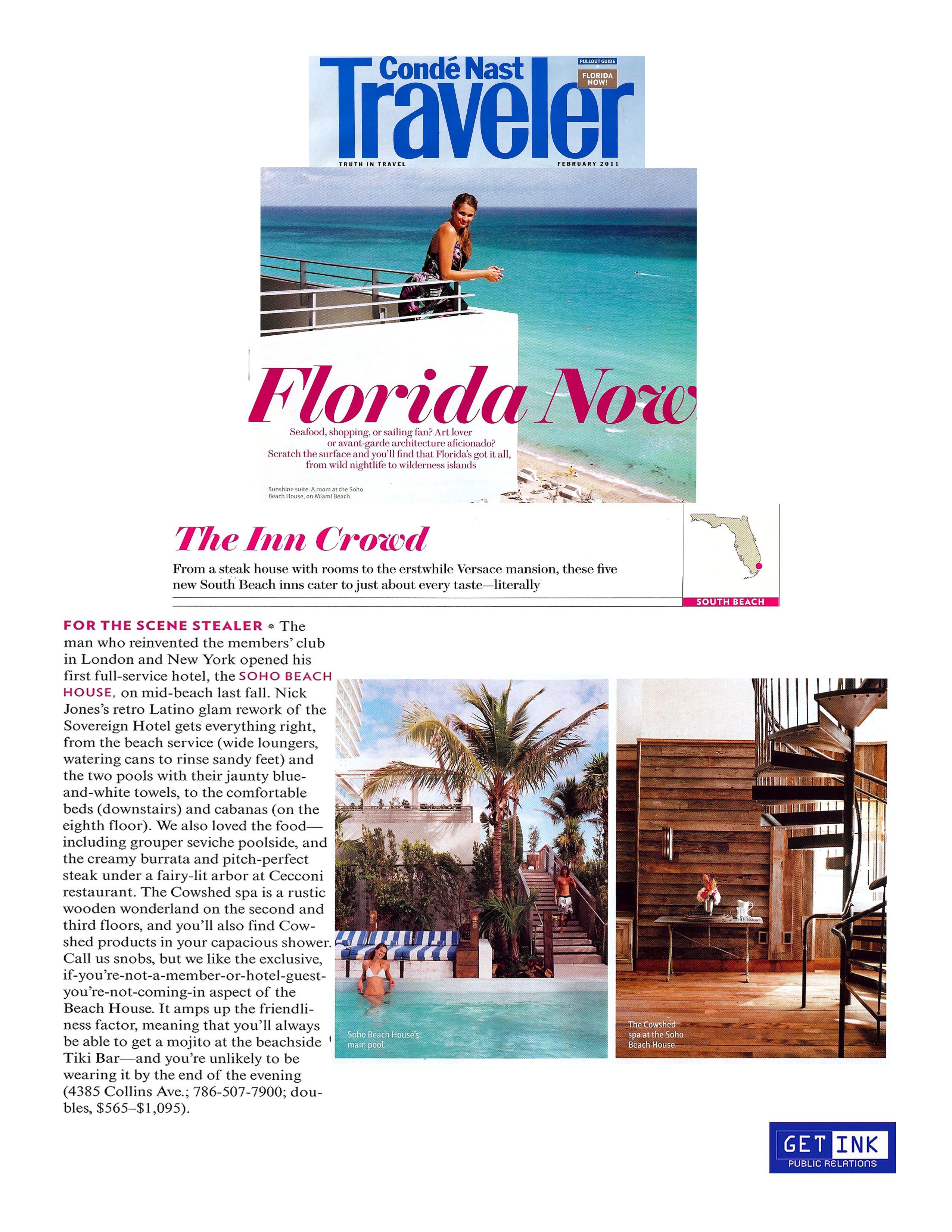 Soho Beach House Miami Beach in CondeNast Traveler - Get Ink PR