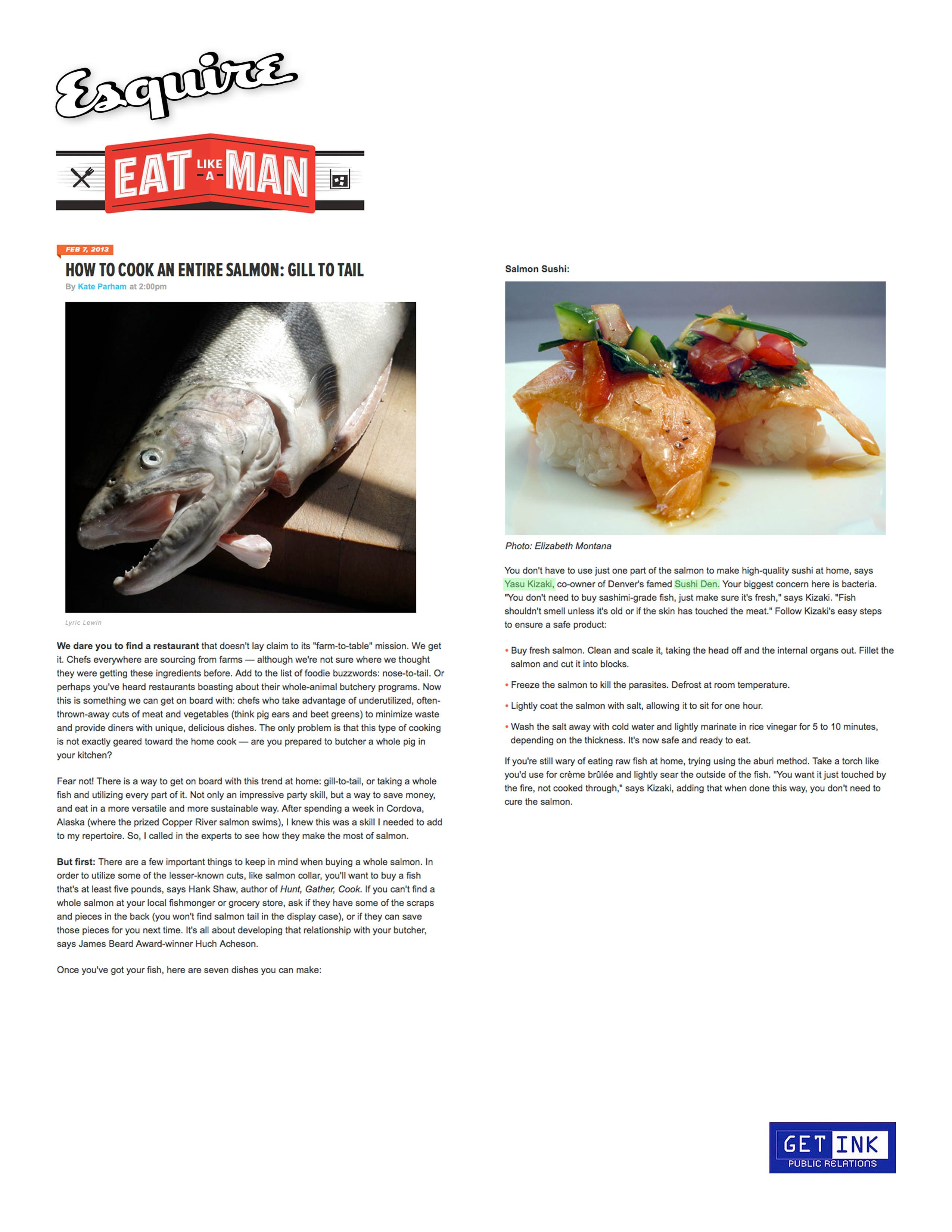 Sushi Den Denver Esquire magazine - Get Ink PR