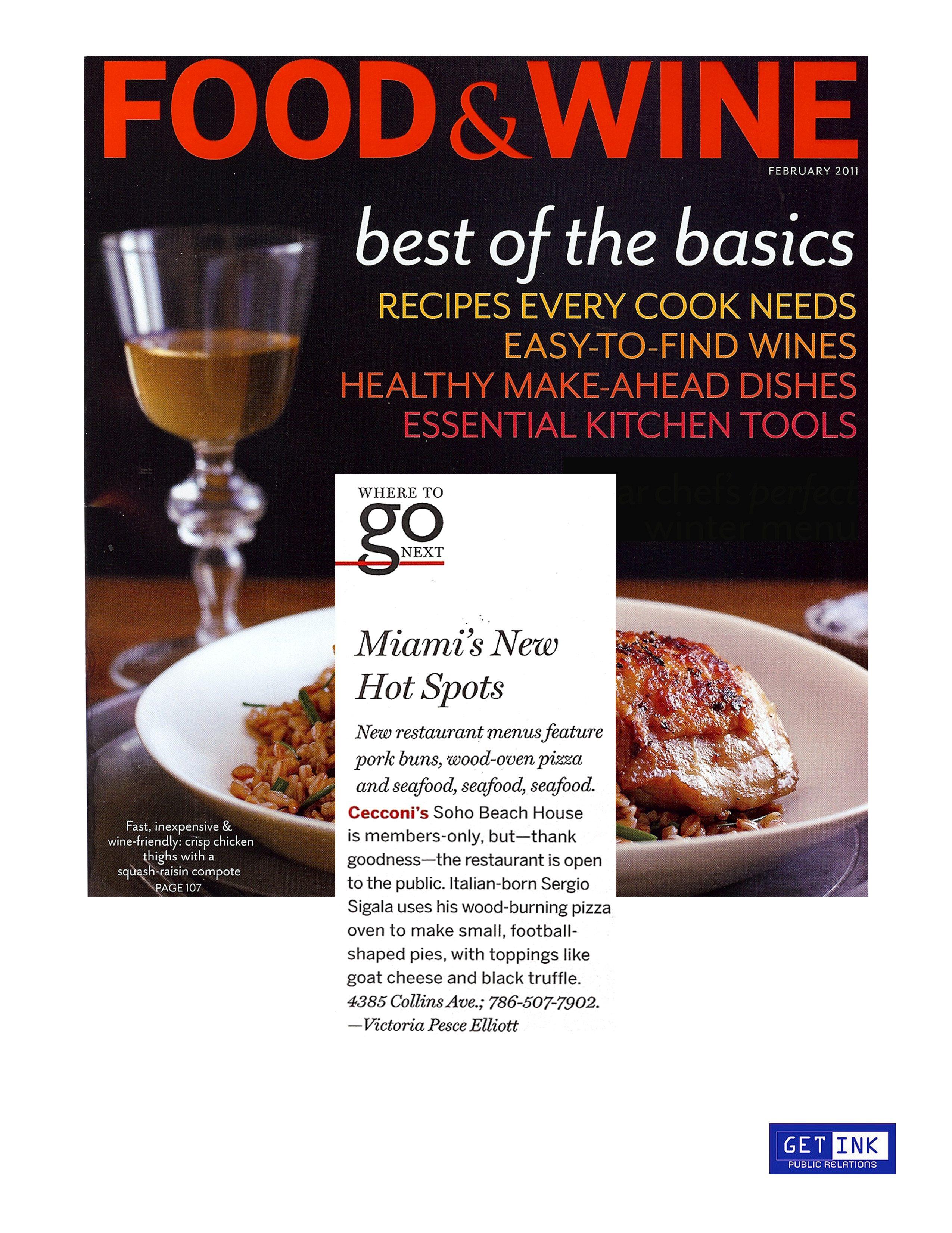 Cecconi's Miami Soho Beach House Food & Wine Magazine - Get Ink PR