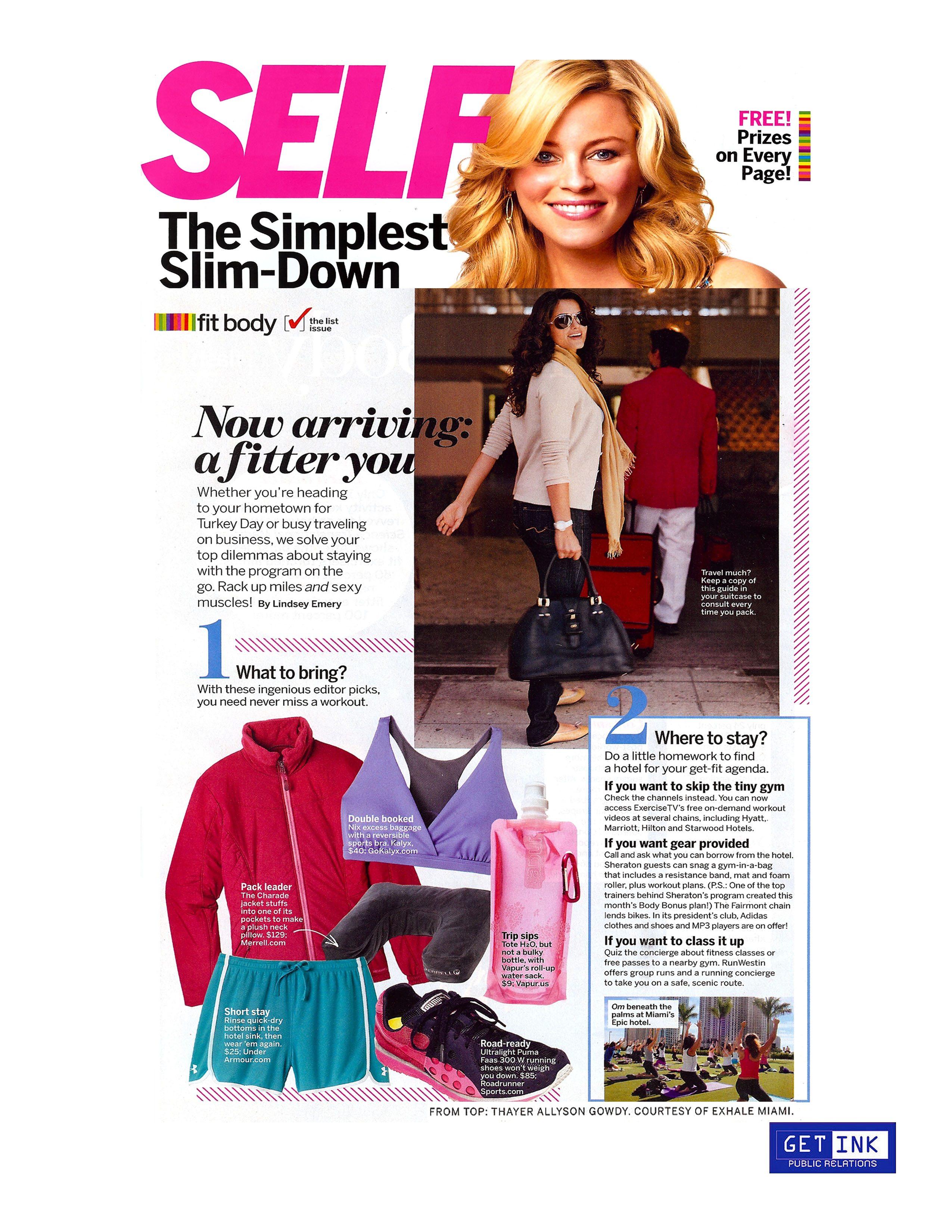 Exhale Spa Miami in Self Magazine - Get Ink PR