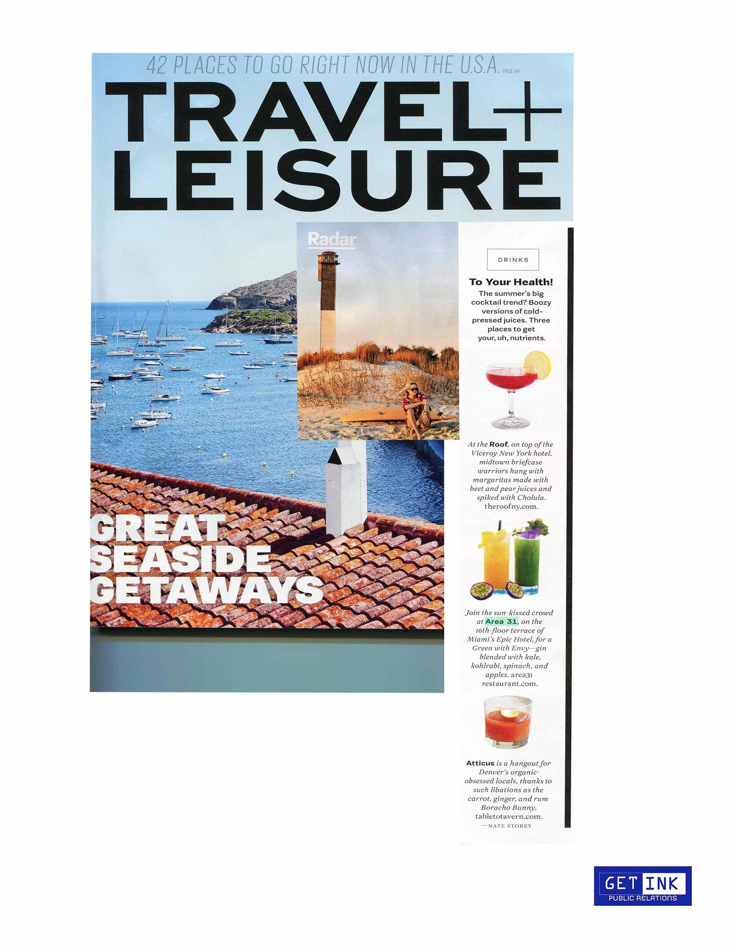 Area 31 Miami in Miami in Travel + Leisure Magazine - Get Ink PR