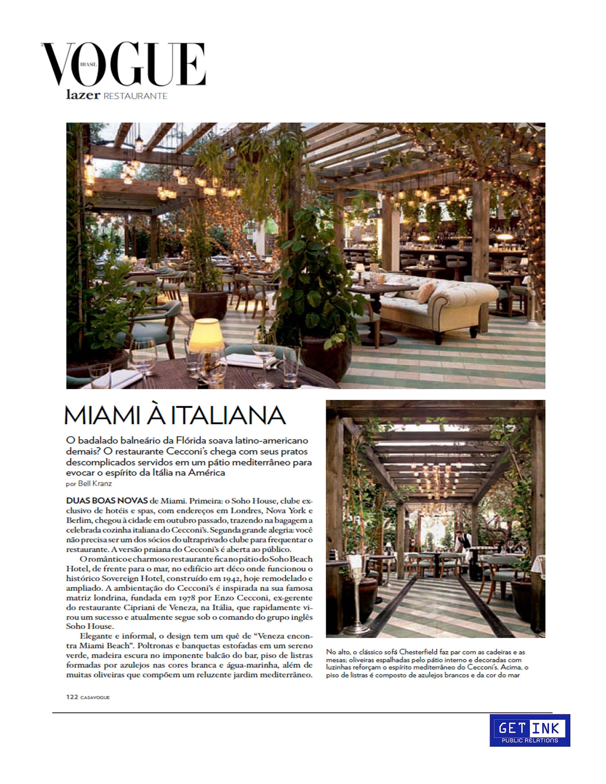 Cecconi's Miami Soho Beach House in Vogue Brazil - Get Ink PR