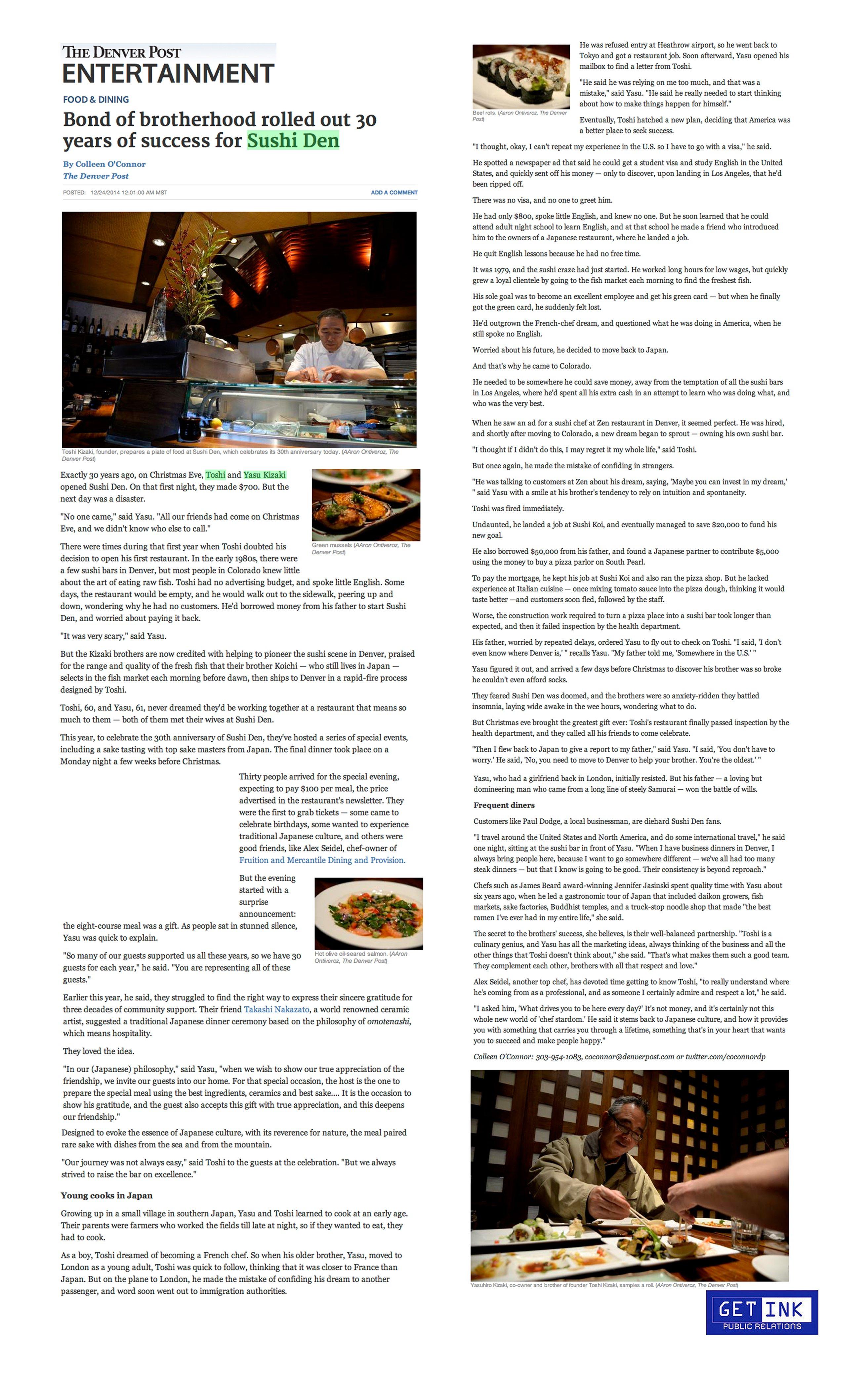 Sushi Den 30 years Denver Post - Get Ink PR