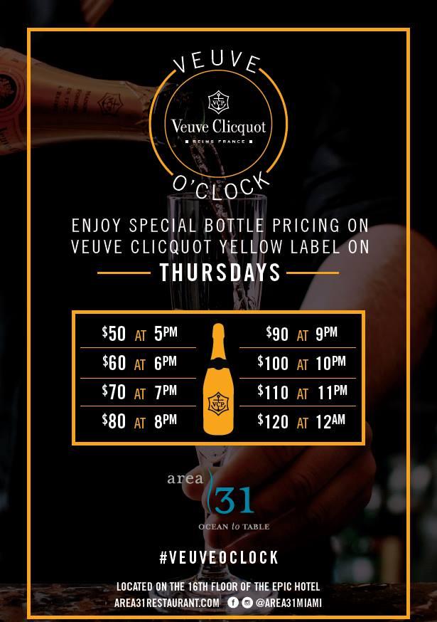 Veuve Clicquot, Veuve O'Clock Area 31 Miami - Get Ink PR