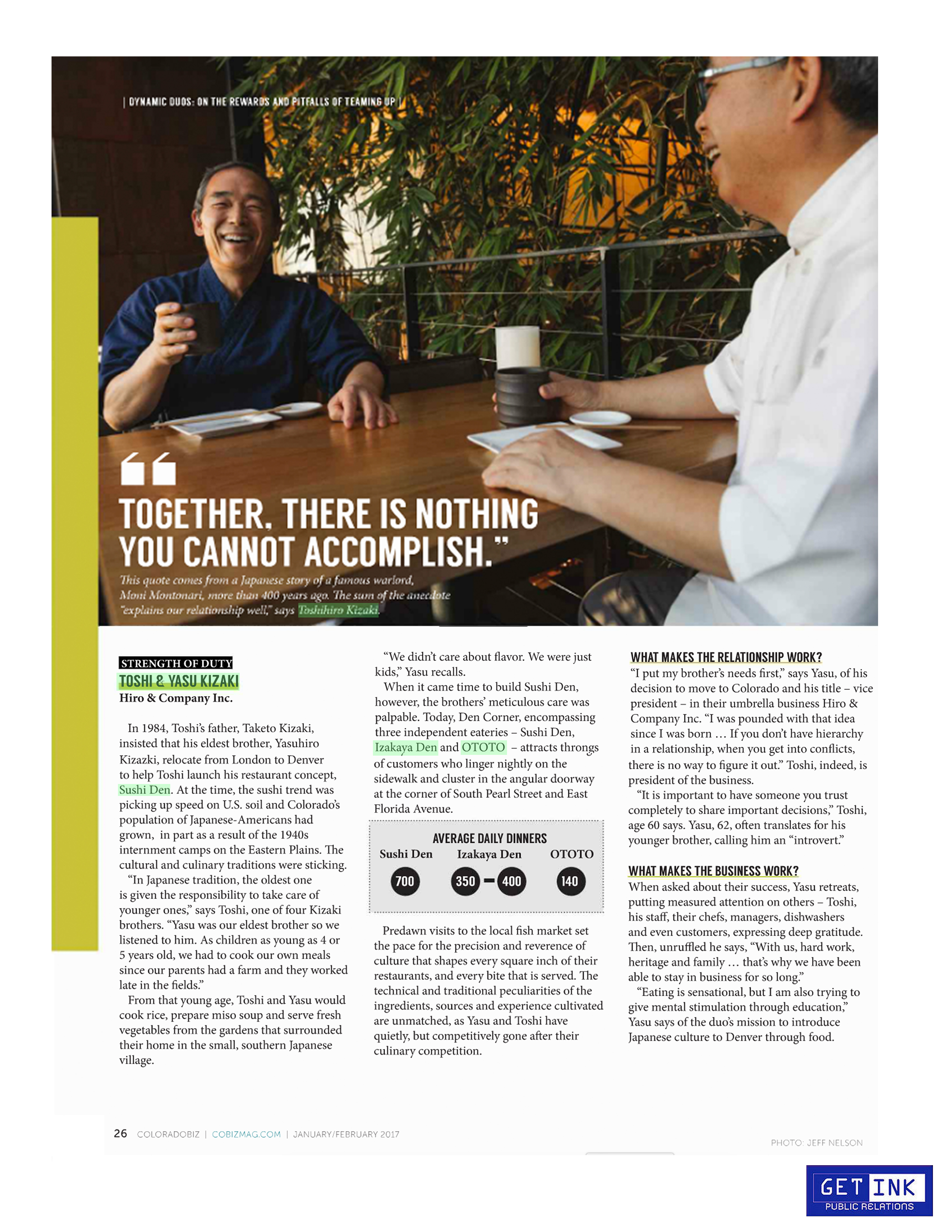 Toshi and Yasu Kizaki Sushi Den Denver in Colorado Business Journal 2017 - Get Ink PR