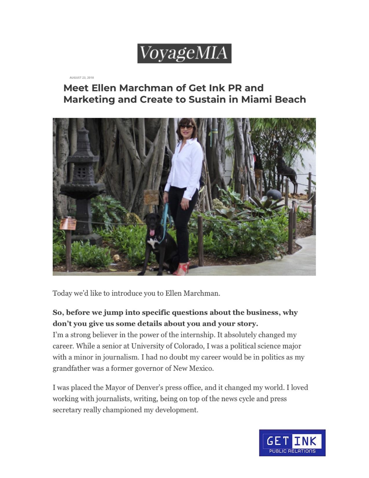 Ellen Marchman and Luna in VoyageMIA - Get Ink Pr
