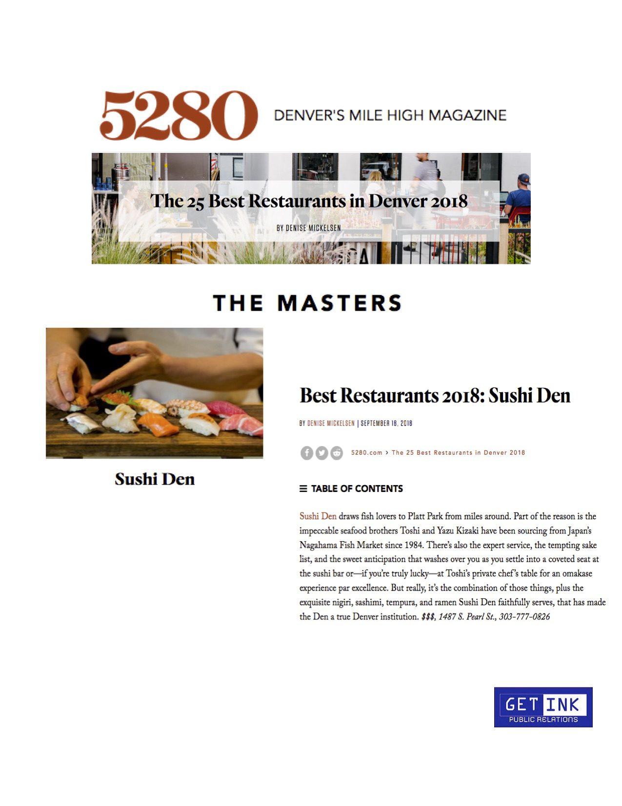 Best restaurant Denver Sushi Den in 5280 Magazine - Get Ink Pr clients