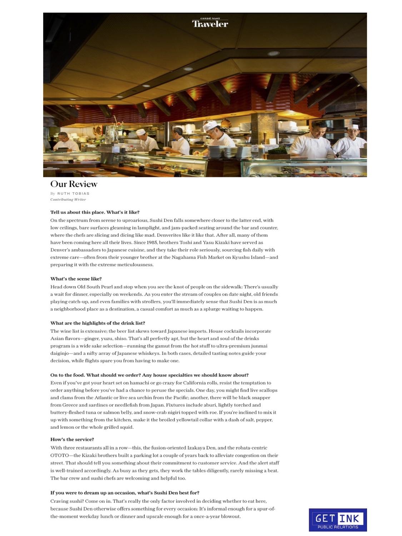 Sushi Den Denver in Conde Nast Traveler Guide - Get Ink Pr
