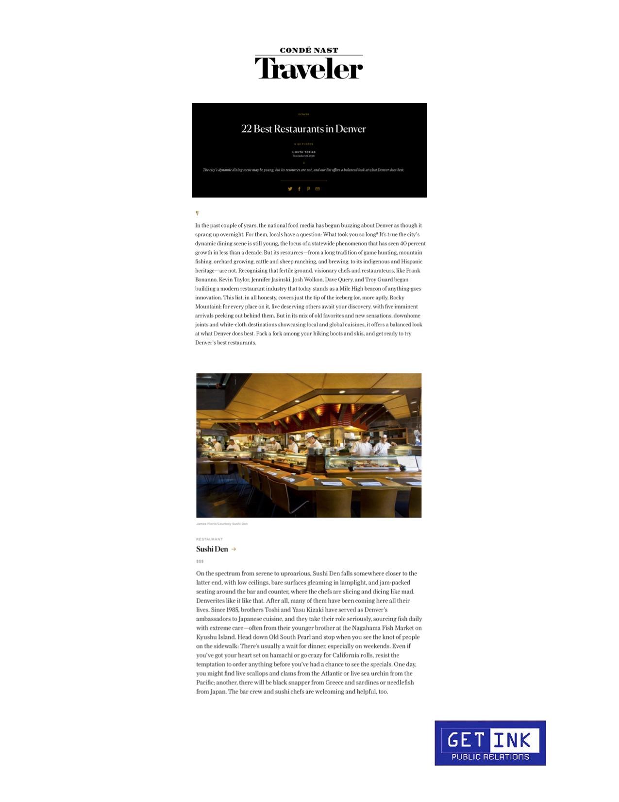 Sushi Den Denver in Conde Nast Traveler Best Restaurant Denver - Get Ink Pr