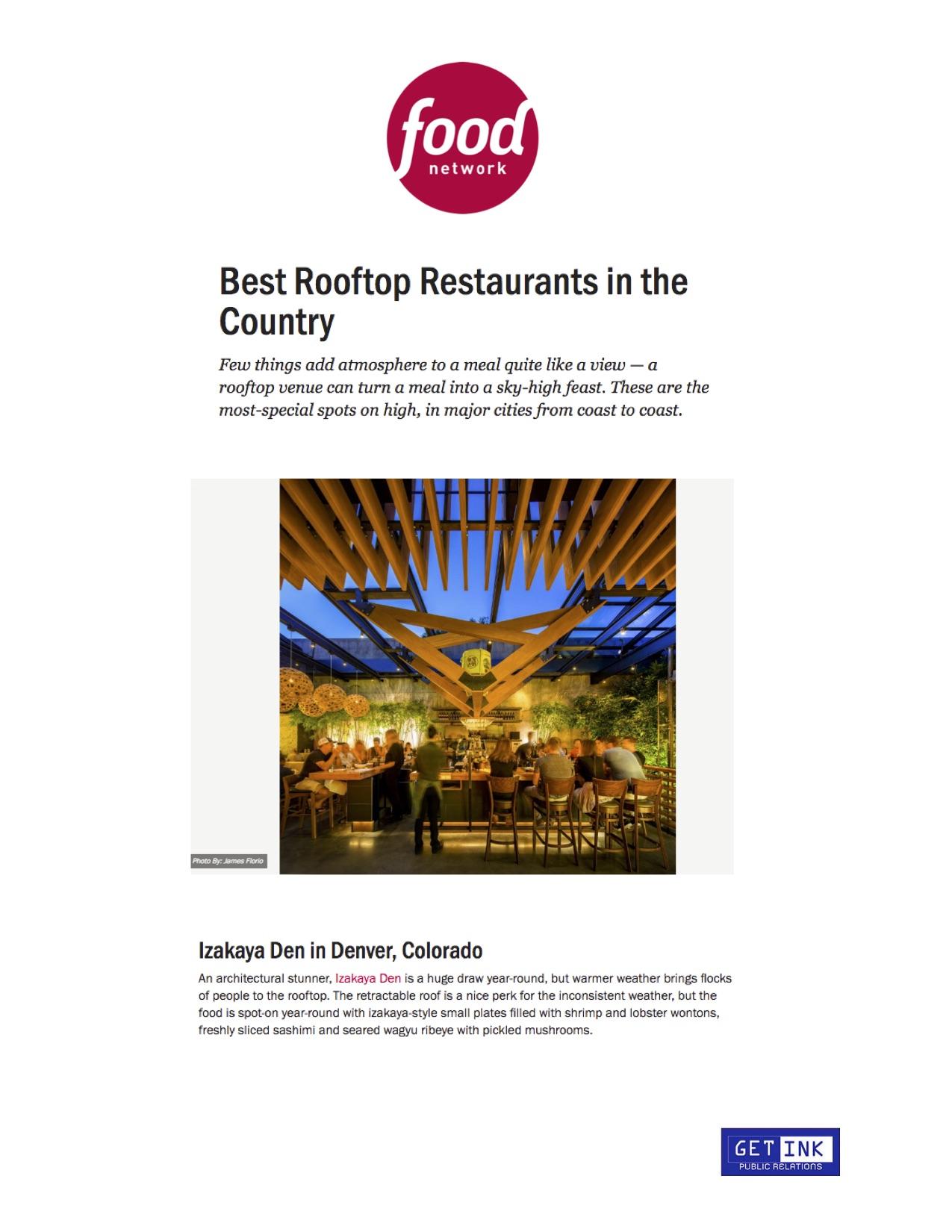 Izakaya Den Denver Best Rooftop Food Network - Get Ink PR