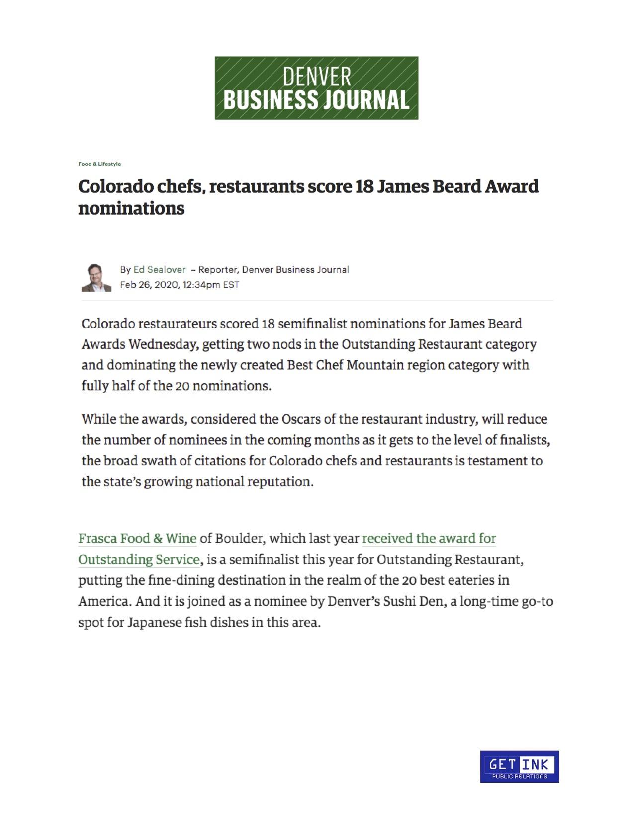 Sushi Den James Beard Award Business Denver Journal - Get Ink PR