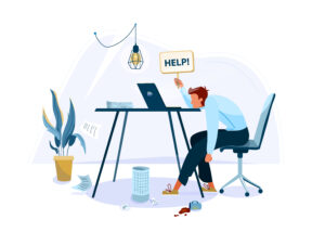 Tired office worker sitting on the chair and request help. The worker is frustrated at the lack of choice.  Business flat cartoon illustration isolated on white backdrop.