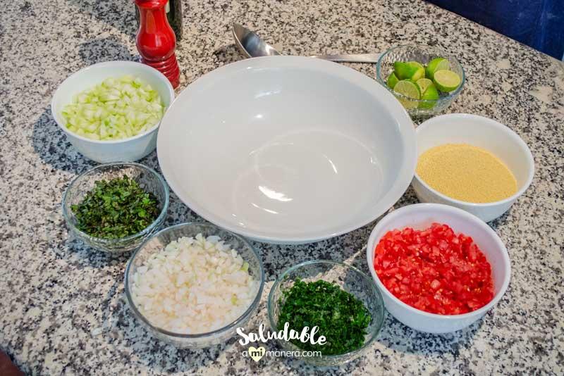 Ingredientes para tabulé árabe