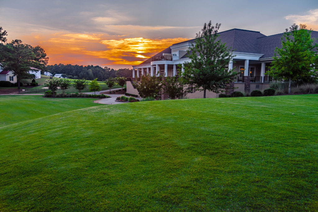 Sunset on Golf Course with Club House 18th Hole